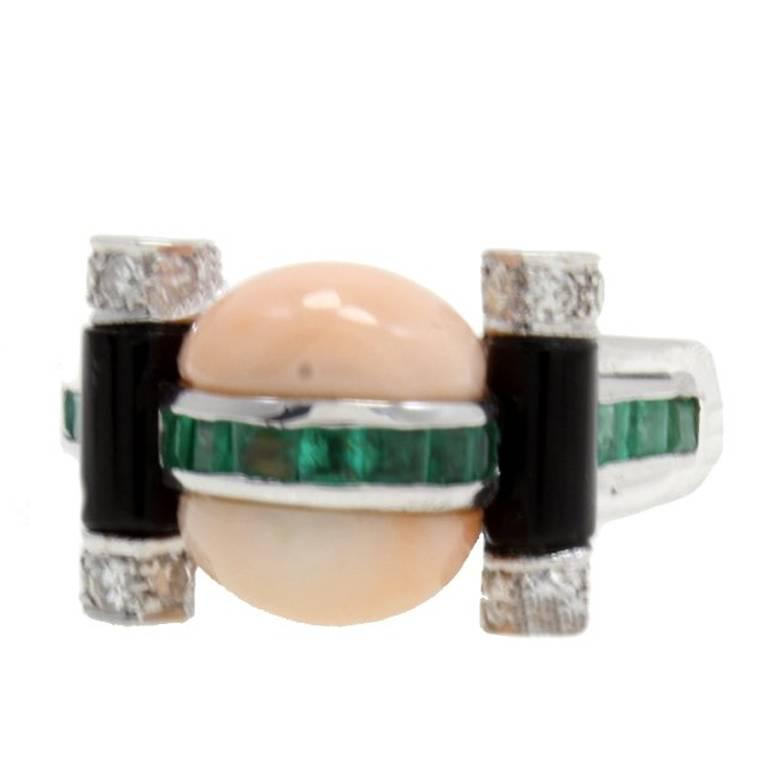 Gold Diamond Emerald Coral Onyx Ring