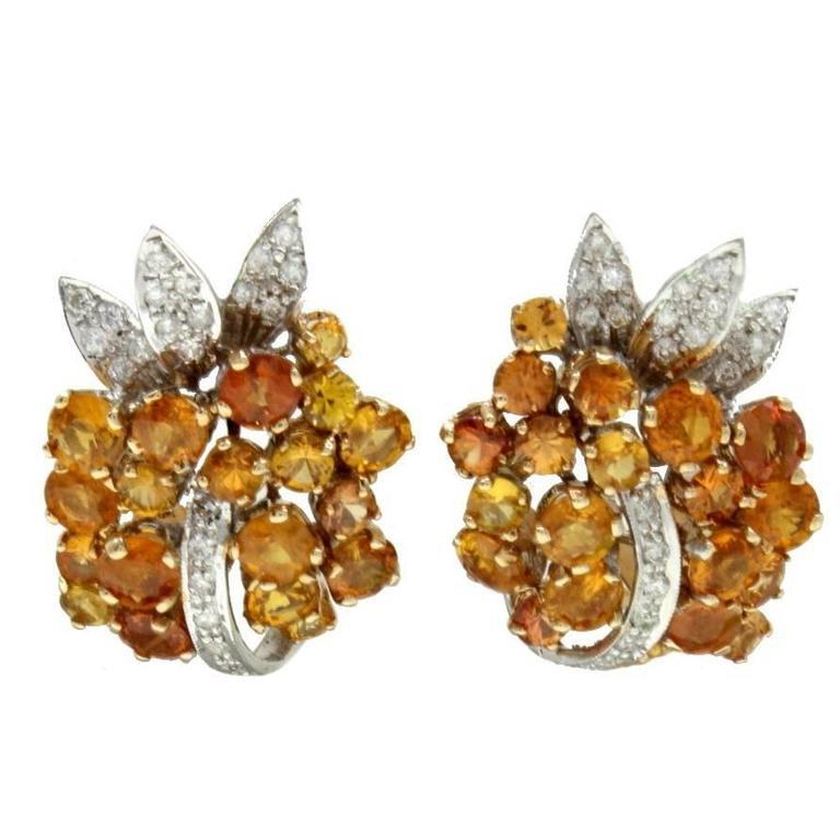Sapphire Diamond Gold Clip-On Earrings