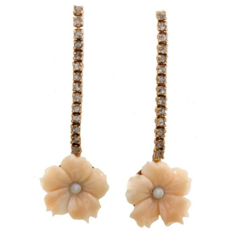 Gold Diamond Coral Pearl Earrings