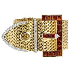 Cazzaniga Citrine Diamond Gold Buckle Bracelet