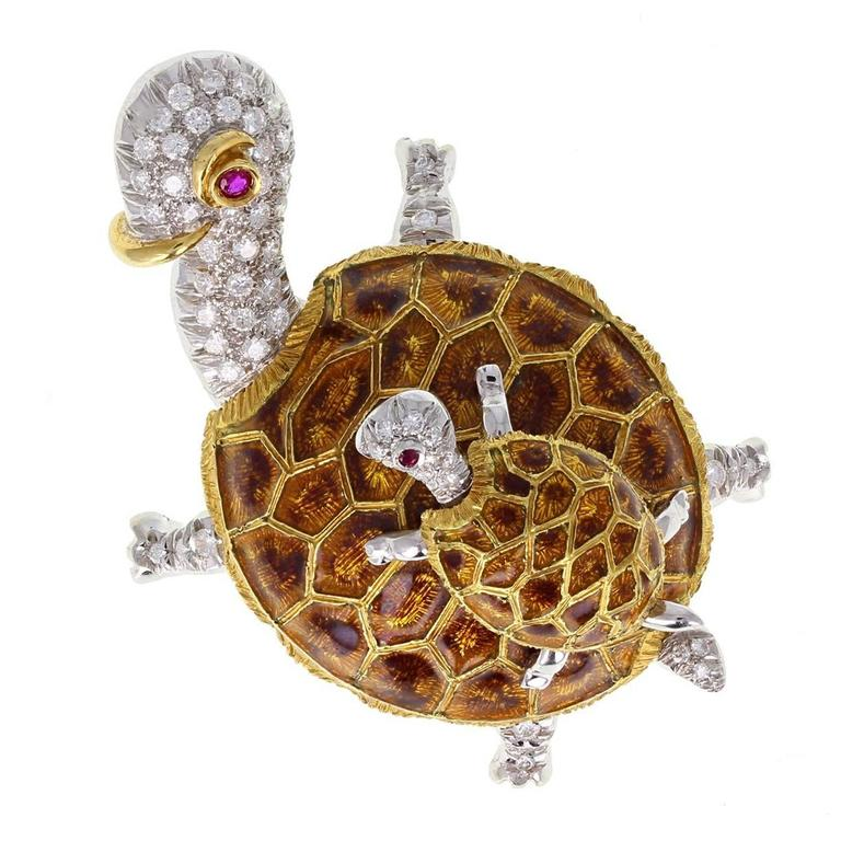 Enamel Diamond Gold Tortoise Brooch