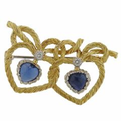 Buccellati Sapphire Diamond Gold Heart Brooch Pin