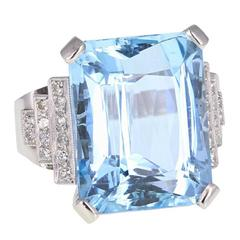 Art Deco Large Aquamarine Diamond Platinum Cocktail Ring