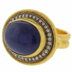 Gurhan Tanzanite Cabochon Diamond Gold Ring