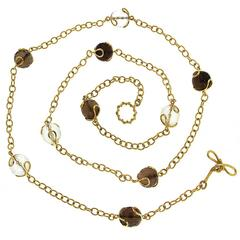Carina Smokey Topaz and Faceted Crystal Ball Gold Necklace