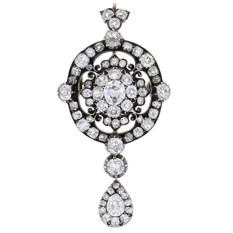 Antique Victorian Diamond Brooch Pendant