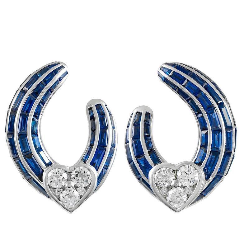Graff Sapphire Diamond White Gold Earclips