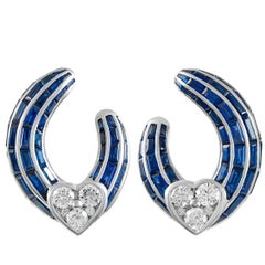 Graff Sapphire Diamond Heart Hoop Earrings