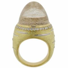 Impressive Rutilated Quartz Diamond Gold Platinum Ring
