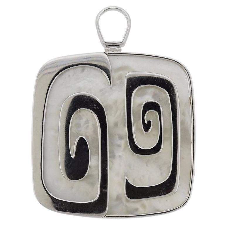 1970s Bulgari Mother-of-Pearl Gold Pendant