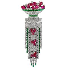 Art Deco Ruby Emerald Diamond Brooch