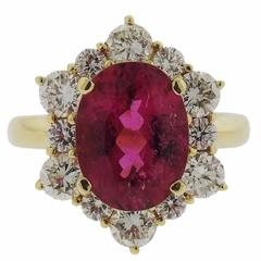 3.56 Carat Tourmaline Diamond Gold Ring