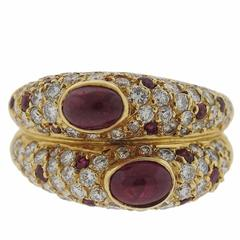 Ruby Cabochon Diamond Gold Ring