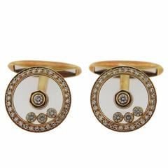 Chopard Floating Happy Diamond Gold Cufflinks