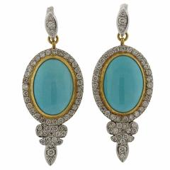 Gurhan Turquoise Diamond Gold Earrings
