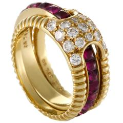 Dior Ruby Insert Diamond Yellow Gold Band Ring Set