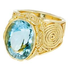 Luna Felix 9.41 Carat Oval Aquamarine Granulated Yellow Gold Cocktail Ring