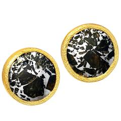 Devta Doolan Meteorite Mirror Gold Stud Earrings