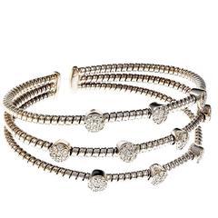 Italian Diamond Gold Three-Row Bracelet