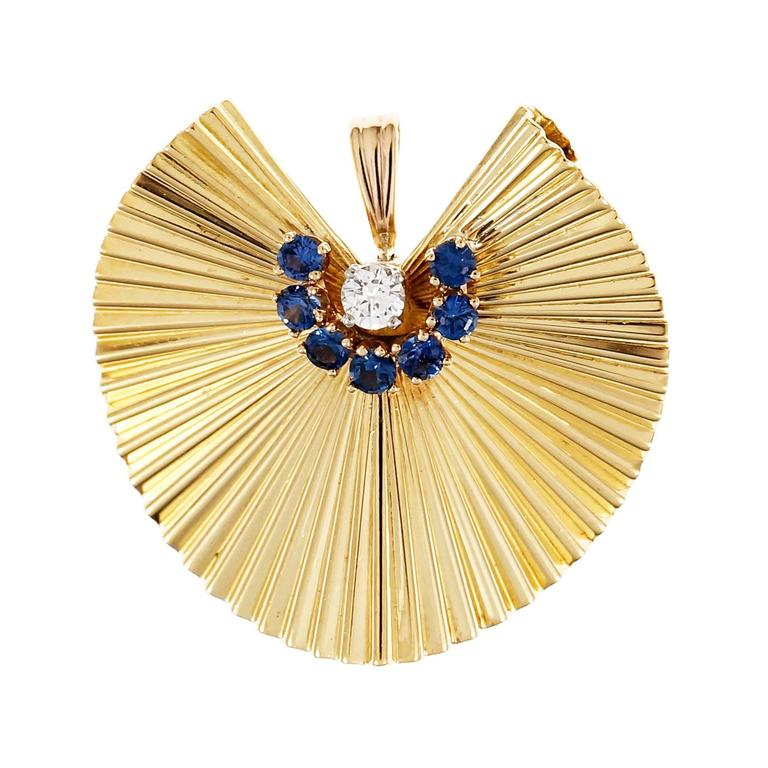 Sapphire Diamond 3-D Fluted Gold Pin Pendant For Sale