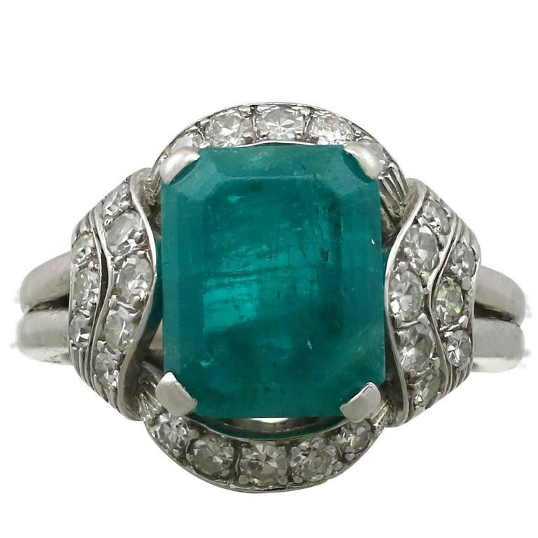 3.75 Carat Emerald Diamond Platinum Ring, 1950s