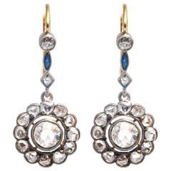Edwardian Rose Cut Diamond and Sapphire Earrings