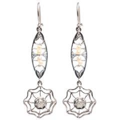 Art Deco Diamond Platinum Dreamcatcher Earrings