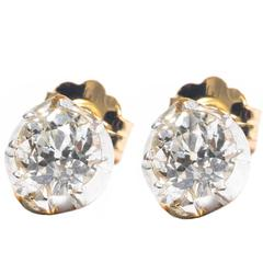 0.40 Carat Diamond Silver Yellow Gold Stud Earrings