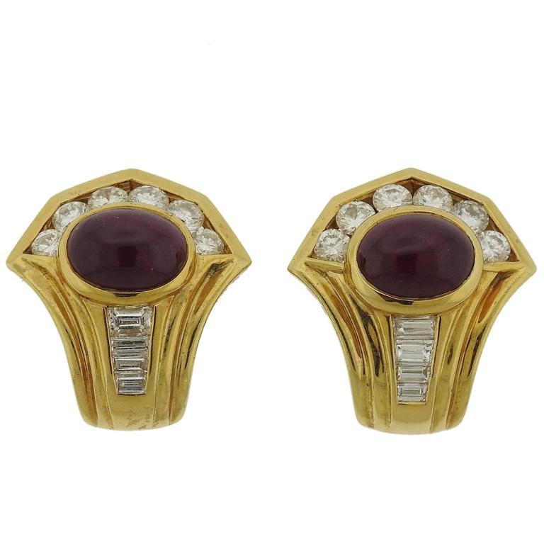 Ruby Diamond Gold Earrings, circa 1980s