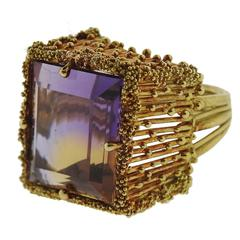 Iconic 1970s Ametrine Gold Cocktail Ring