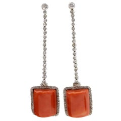 White Diamonds, Square Shape Red Coral, White Gold Dangle Earrings