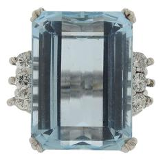 1950s 20 Carat Aquamarine Diamond Platinum Ring