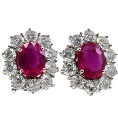 2.40 ct Diamonds, 3.17 ct Rubies White Gold Earrings