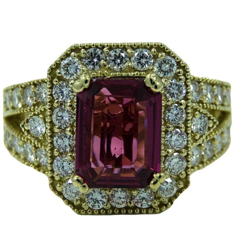 3.05 Carat Natural Emerald Cut Spinel Diamond Yellow Gold Ring