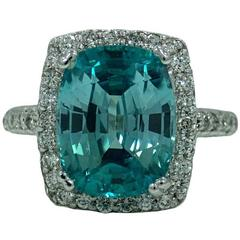 9.67 Carat Blue Zircon Diamond White Gold Ring