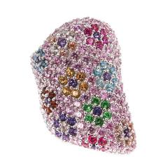 Multicolor Sapphire Floral Ring