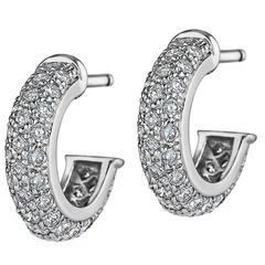 Cartier Diamond Platinum Hoop Earrings