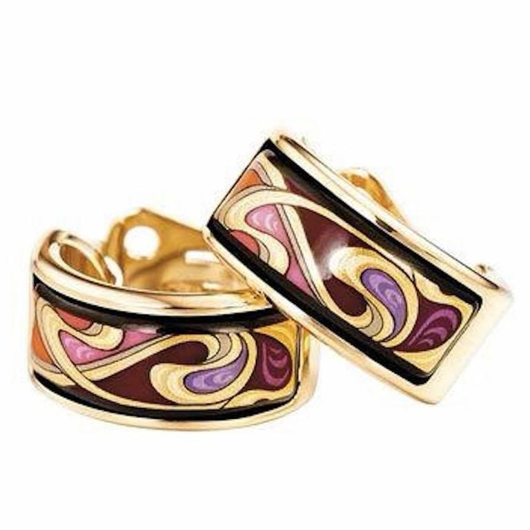 Frey Wille Hommage A Alphonse Mucha Mini Creoles Earrings For