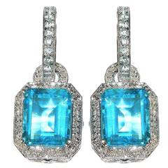 Blue Topaz Diamond Gold Earrings