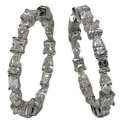 Pear Emerald Princess Cut Diamonds White Gold Hoop Earrings