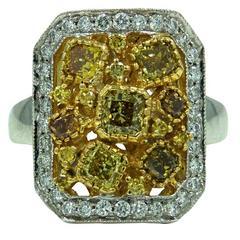 1.49 Carat Yellow Cushion Cut and Round Diamonds White Gold Ring