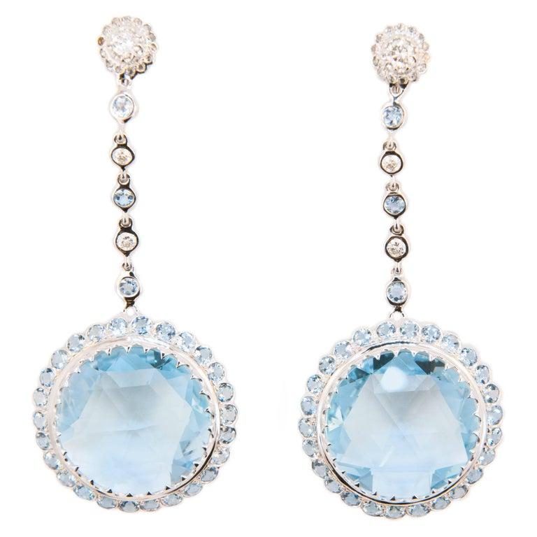 Laura Munder Blue Topaz Aquamarine Diamond White Gold Earrings For Sale