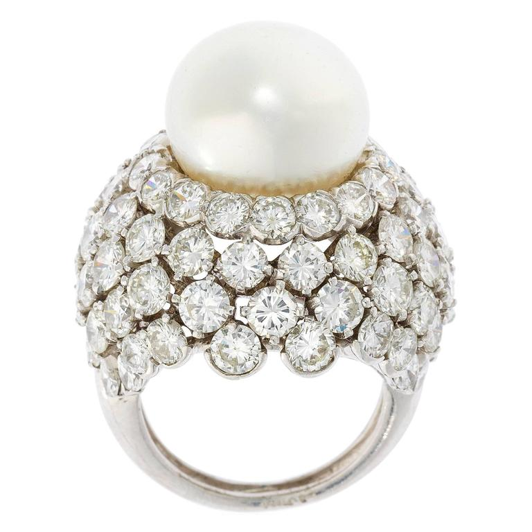 David Webb Pearl Diamond Platinum Cocktail Ring