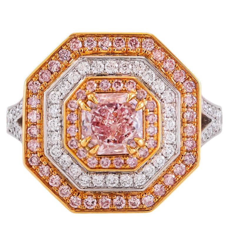 GIA Certified Fancy Pink Diamond Gold Platinum Cocktail Engagement Ring