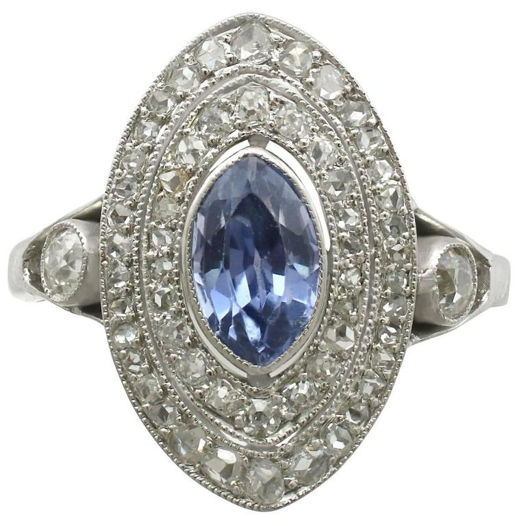 1910s Antique French Sapphire and Diamond White Gold Marquise Ring