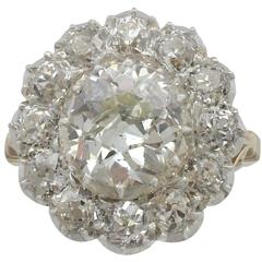 1900s 5.27 Carat Diamond Yellow Gold Silver Set Cluster Ring