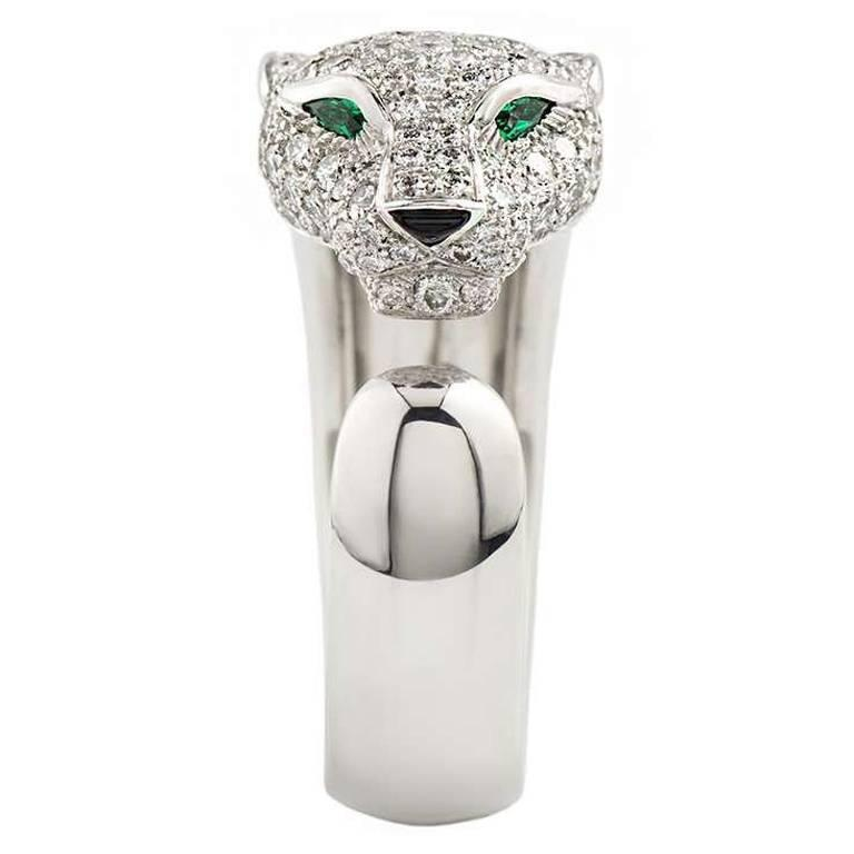 Cartier Panthere Onyx Emerald Diamond Gold Ring 1