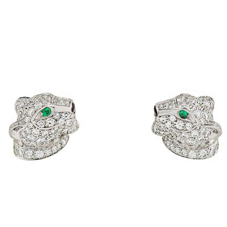 Cartier Panthere Onyx Emerald Diamond White Gold Earrings 1