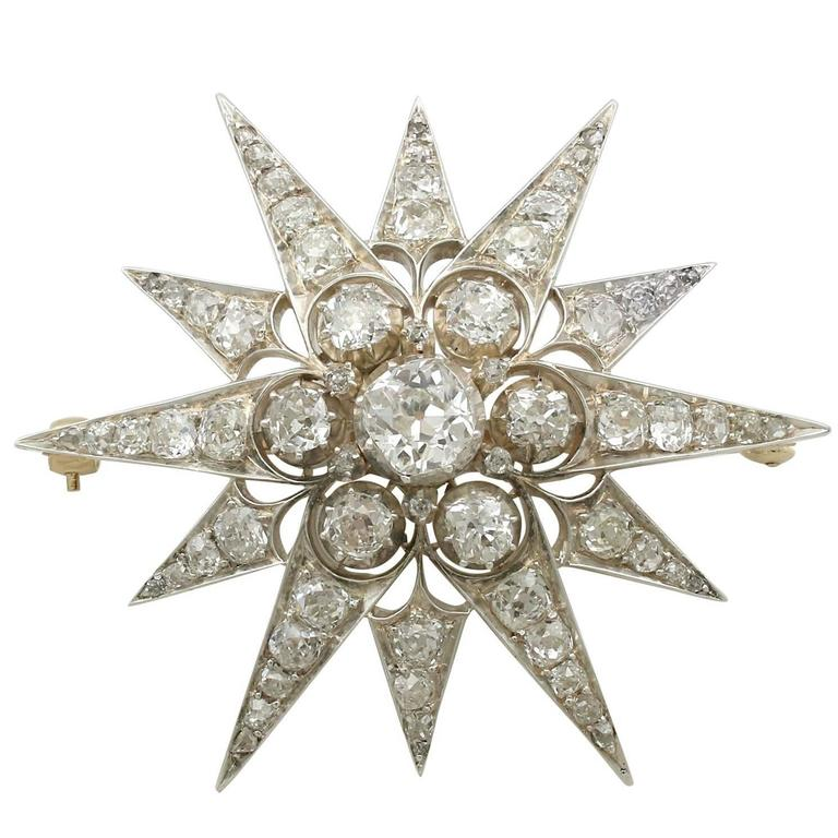 1880s Victorian 7.08 Carats Diamonds Yellow Gold Star Brooch