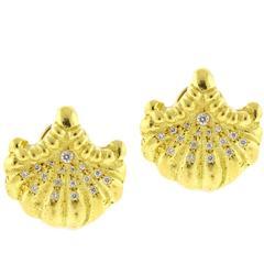 Elizabeth Gage Diamond Gold Shell Earrings